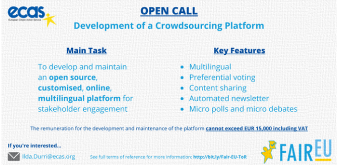 Open Call for development of crowdsourcing platform
