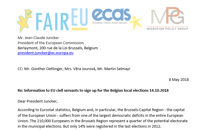 ECAS and MPG contact EU Institutions to encourage EU mobile citizens to vote